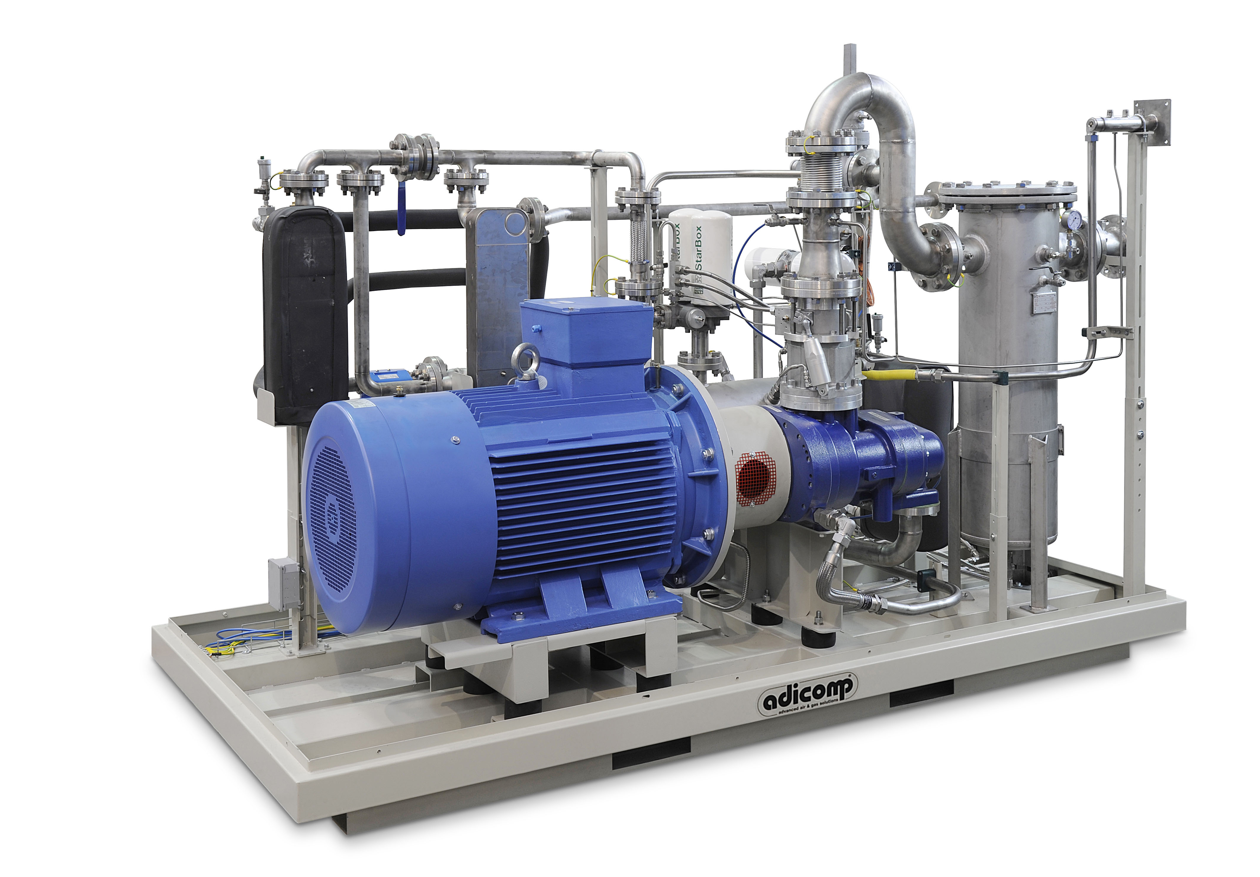 air and biogas compression system with screw compressor