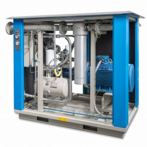 gas pack air and biogas compression system with screw compressor