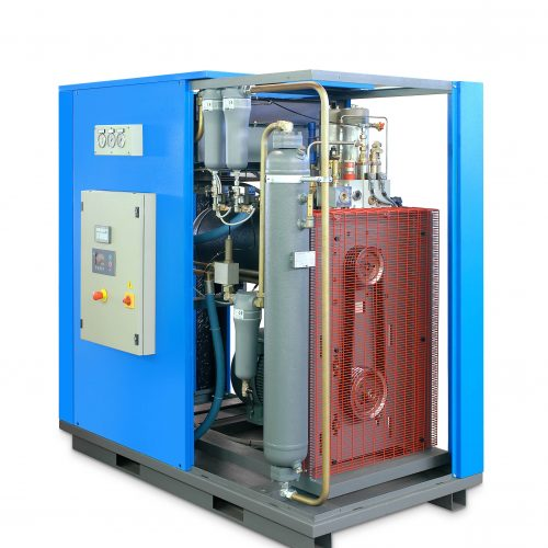 technical gas compression system with screw compressor